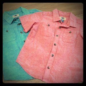 2 Old Navy Boys Linen Shirts  NEVER WORN